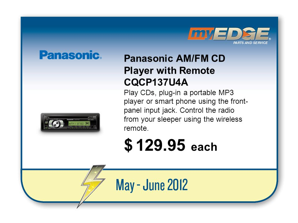 $ 129.95 each Panasonic AM/FM CD Player with Remote CQCP137U4A