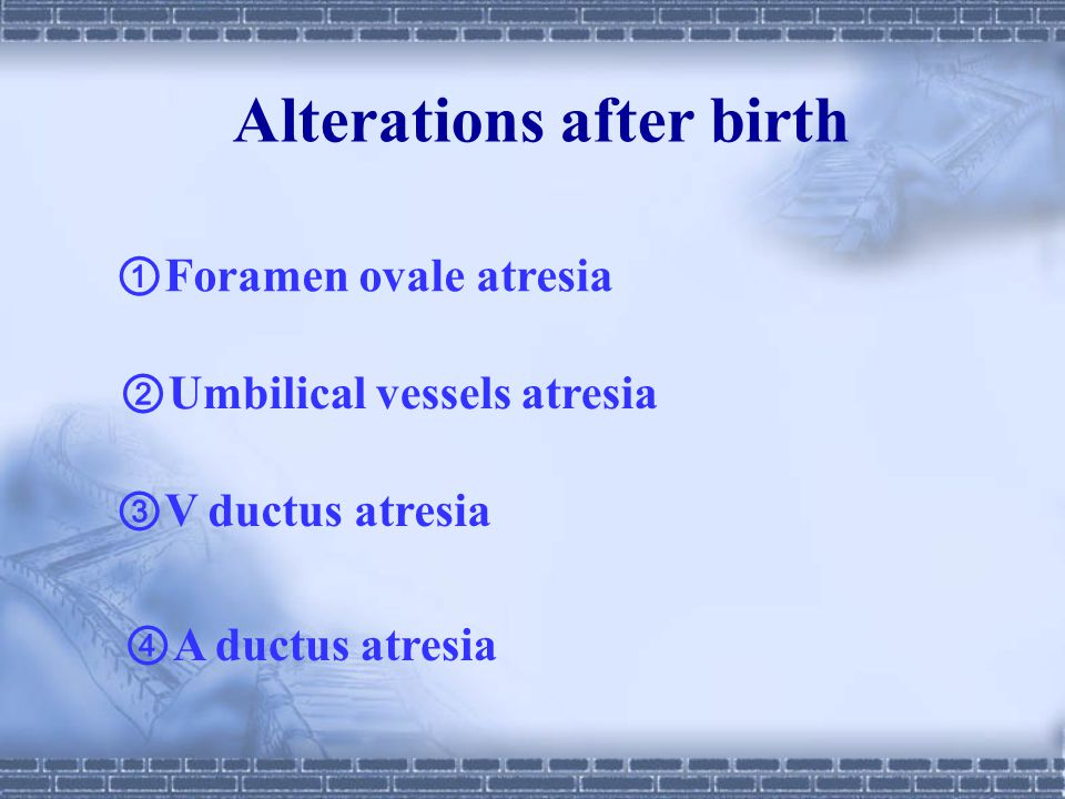 Alterations after birth