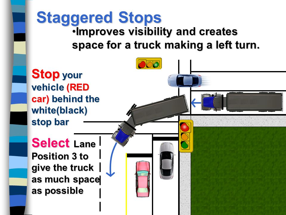 Staggered Stops Improves visibility and creates space for a truck making a left turn. Stop your vehicle (RED car) behind the white(black) stop bar.