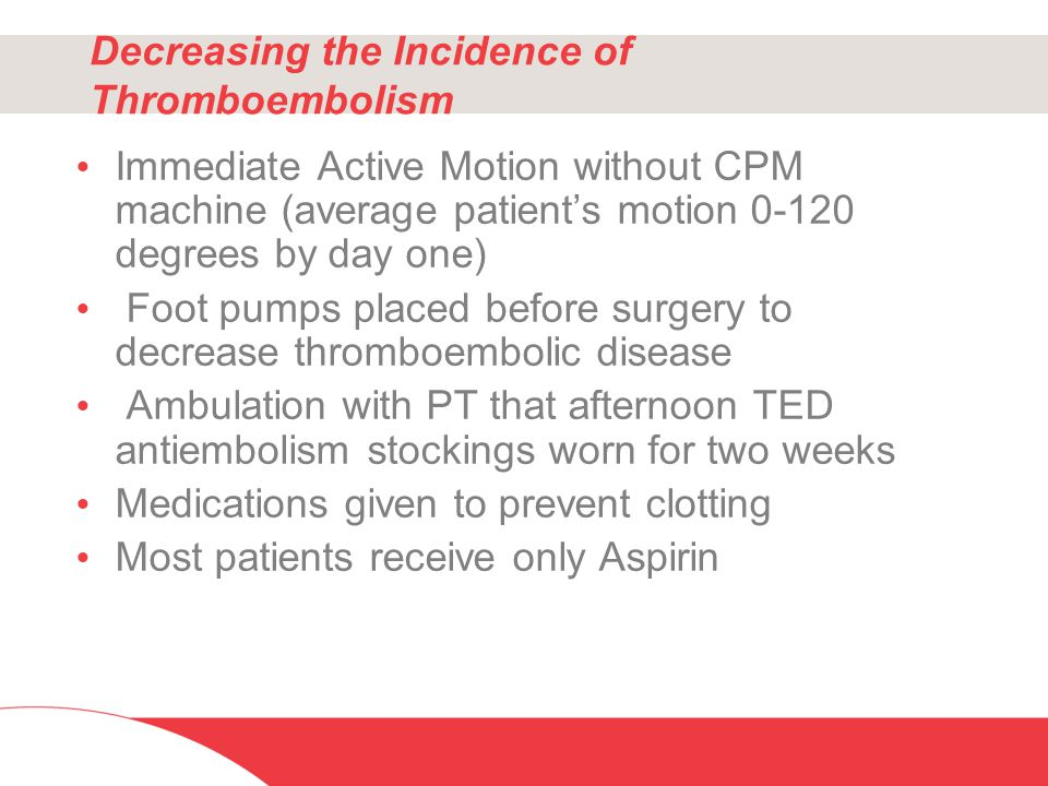 Decreasing the Incidence of Thromboembolism