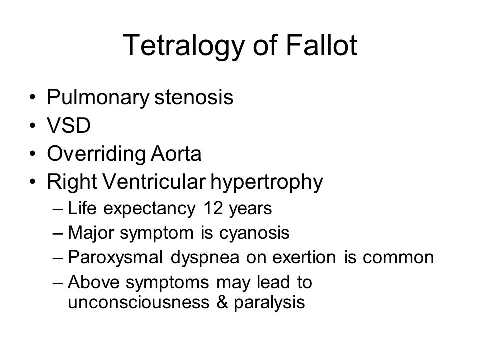 Tetralogy of Fallot Pulmonary stenosis VSD Overriding Aorta