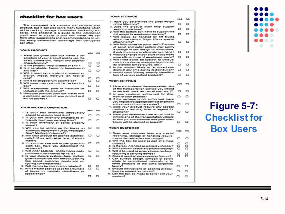 Figure 5-7: Checklist for Box Users