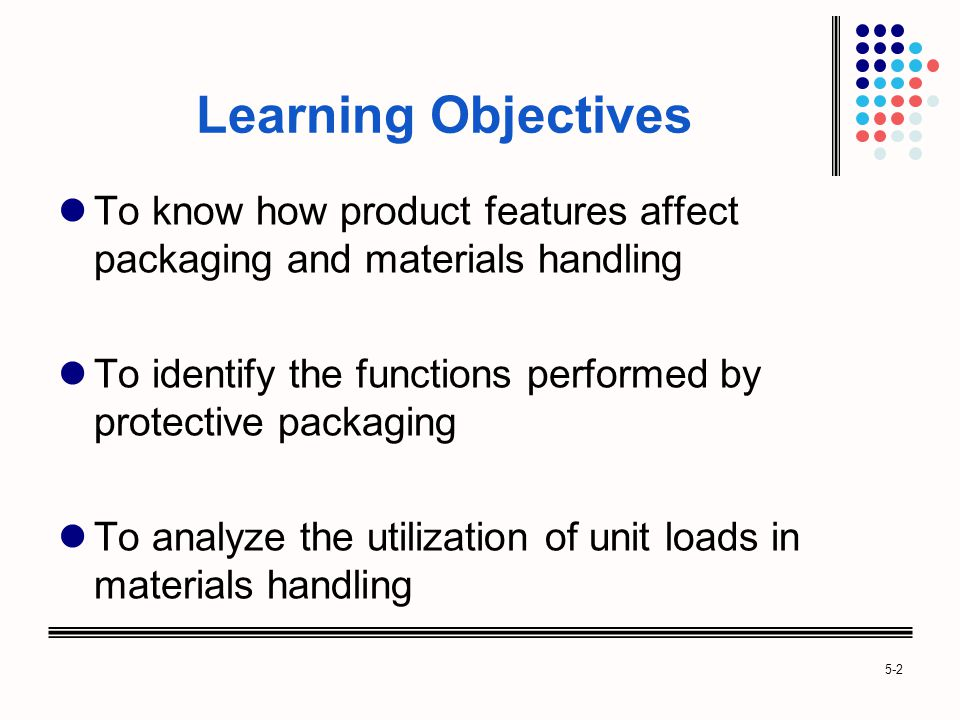 Learning Objectives To know how product features affect packaging and materials handling.