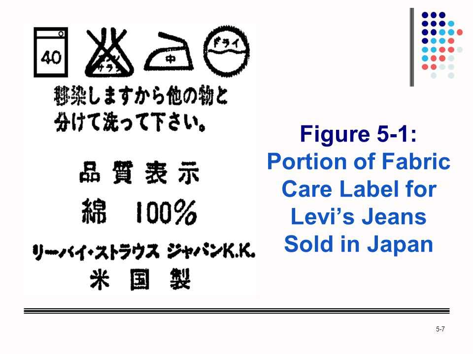 Figure 5-1: Portion of Fabric Care Label for Levi's Jeans Sold in Japan