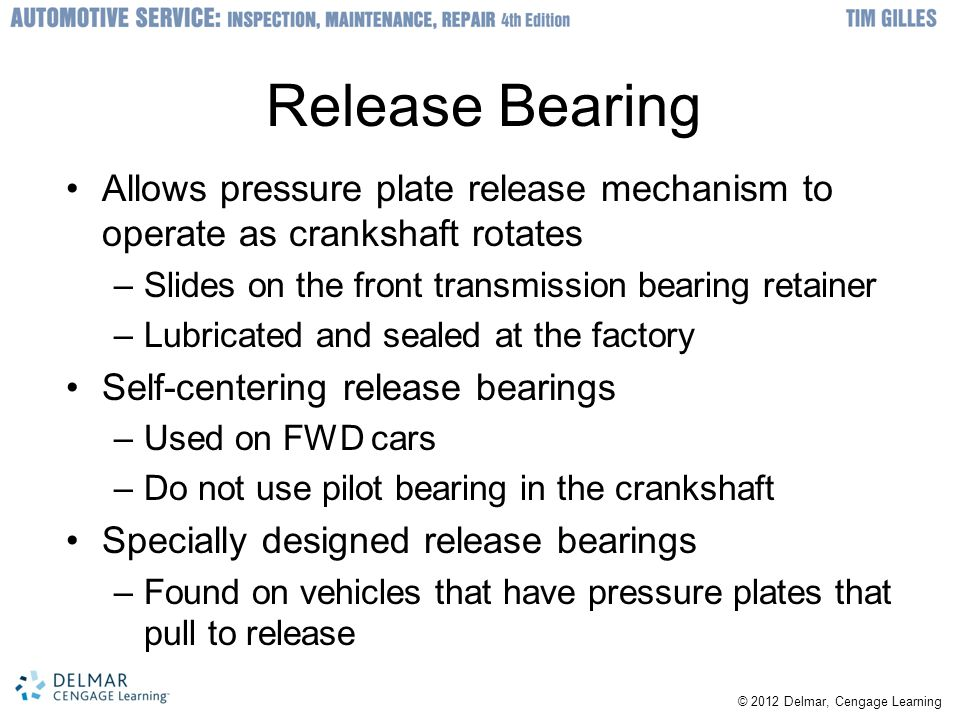 Release Bearing Allows pressure plate release mechanism to operate as crankshaft rotates. Slides on the front transmission bearing retainer.