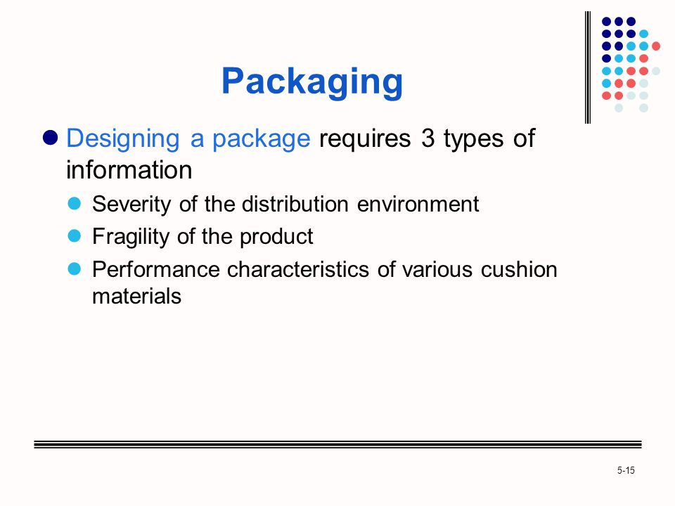 Packaging Designing a package requires 3 types of information