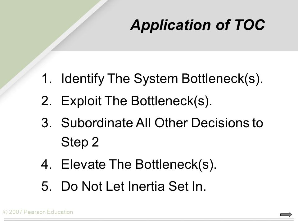 Application of TOC Identify The System Bottleneck(s).