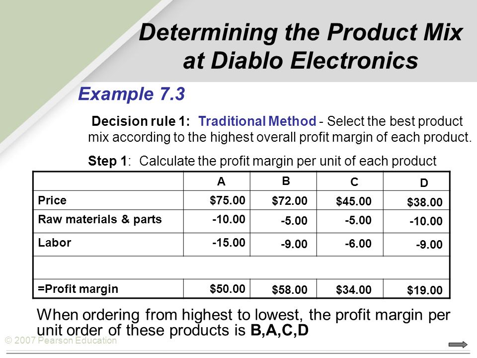 Determining the Product Mix at Diablo Electronics