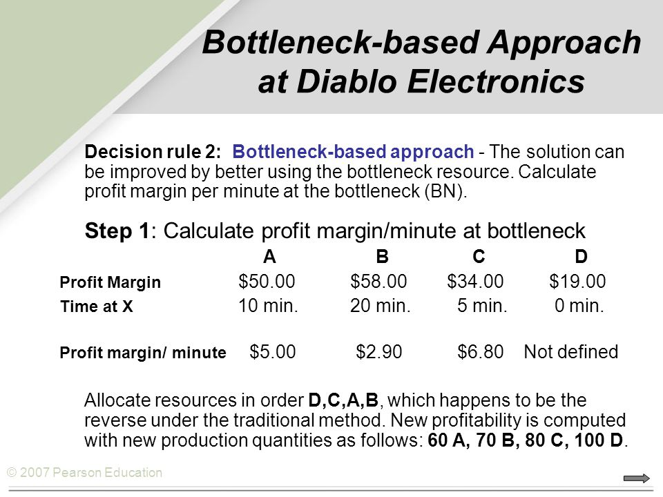 Bottleneck-based Approach at Diablo Electronics