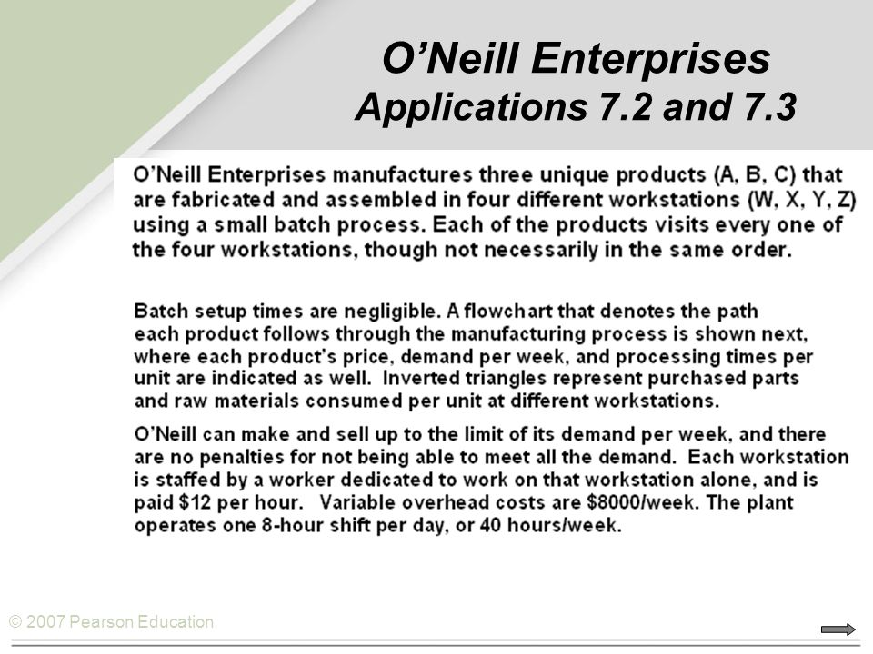 O'Neill Enterprises Applications 7.2 and 7.3