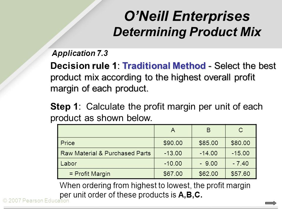 O'Neill Enterprises Determining Product Mix