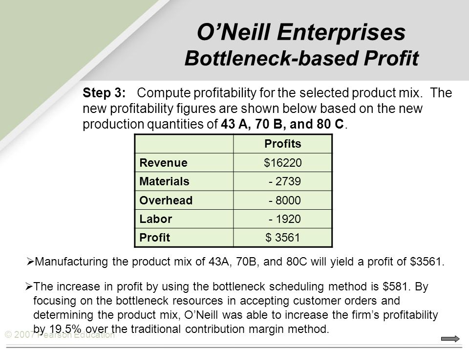O'Neill Enterprises Bottleneck-based Profit