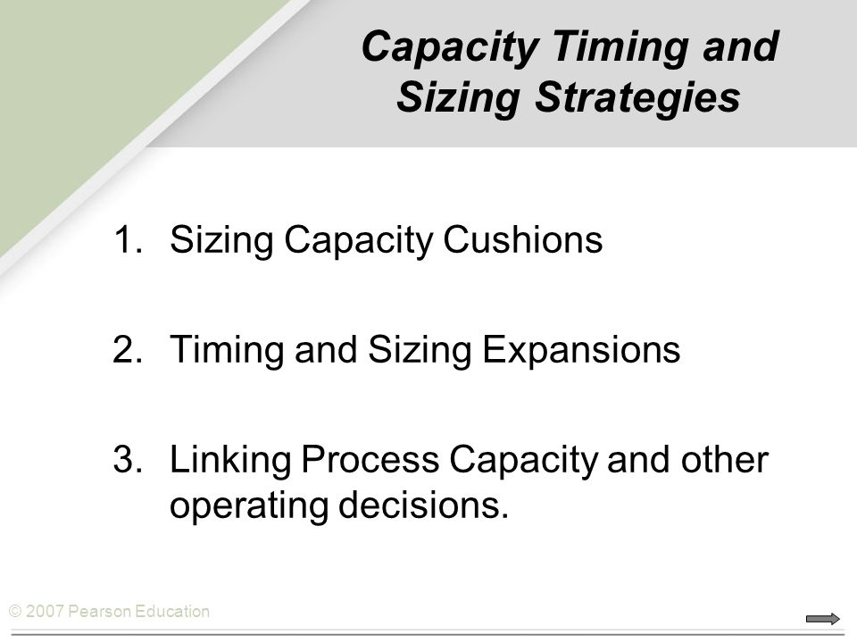 Capacity Timing and Sizing Strategies