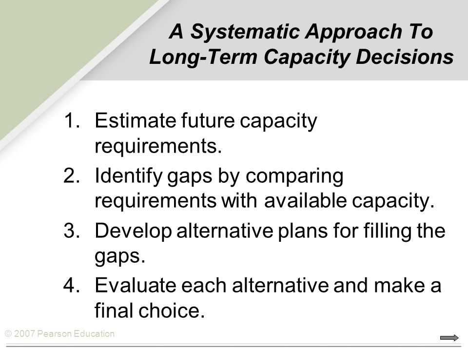 A Systematic Approach To Long-Term Capacity Decisions