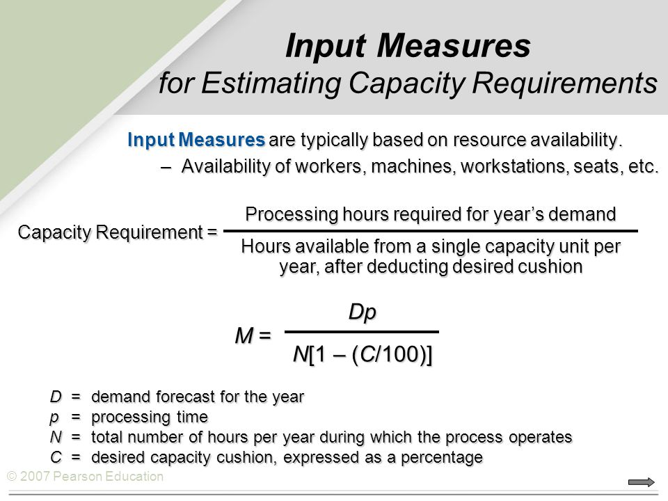 Input Measures for Estimating Capacity Requirements