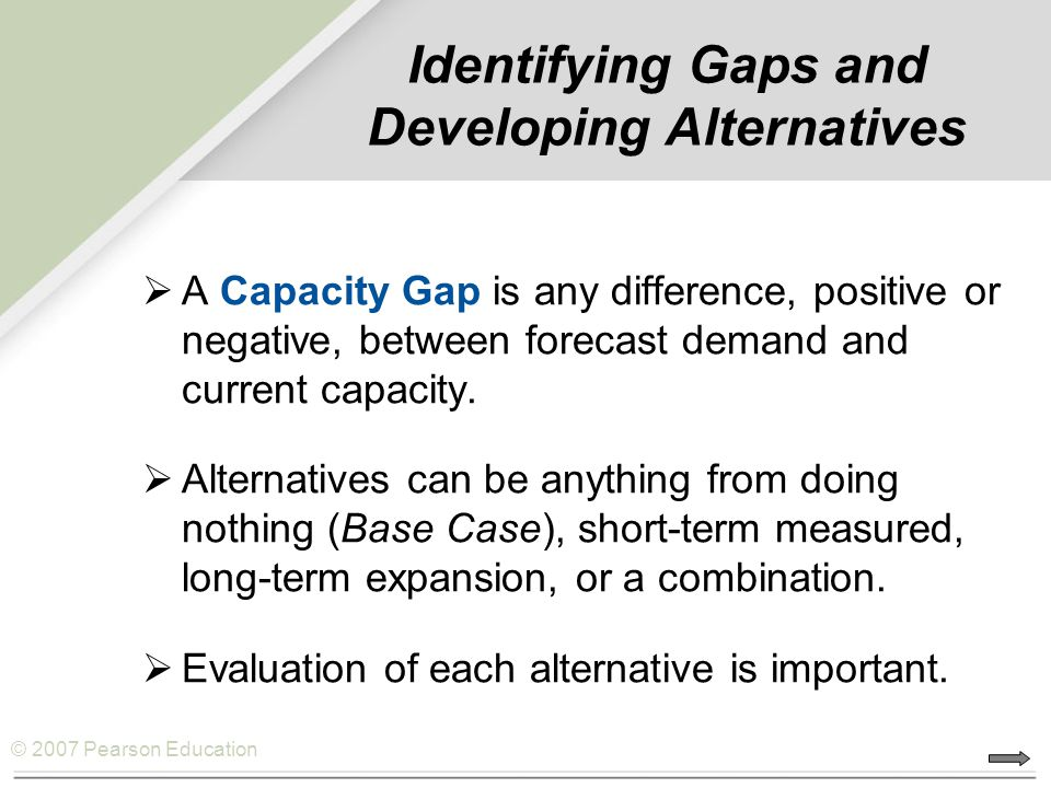 Identifying Gaps and Developing Alternatives