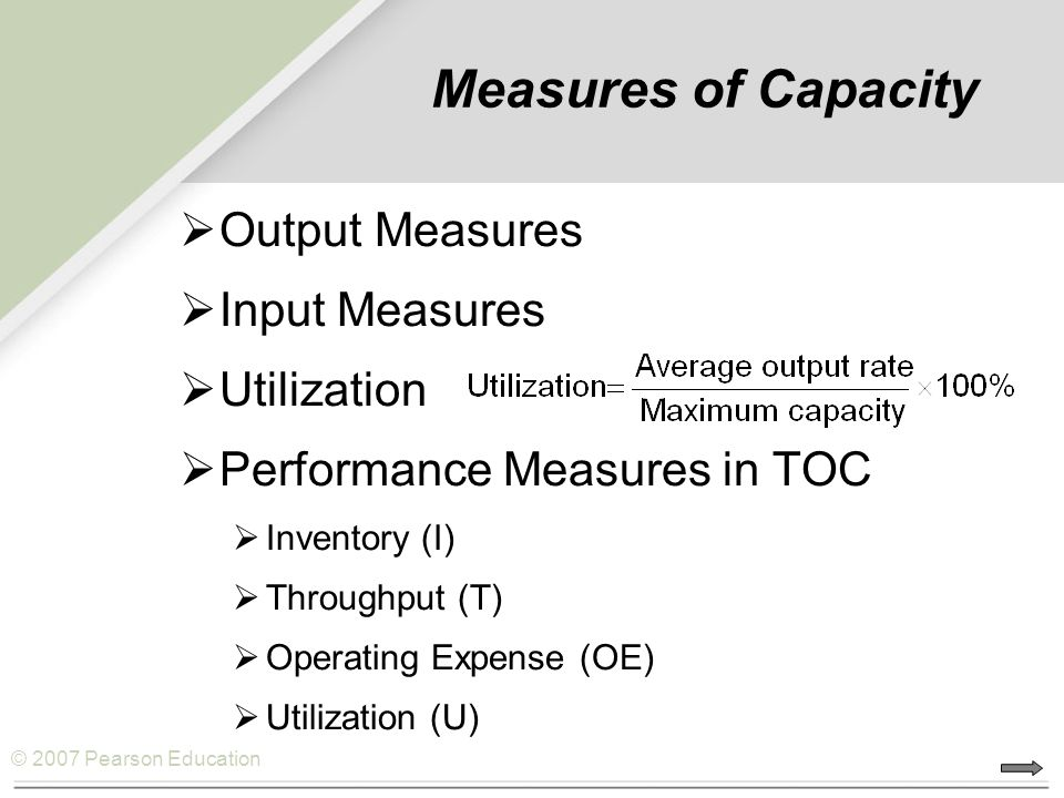 Measures of Capacity Output Measures Input Measures Utilization