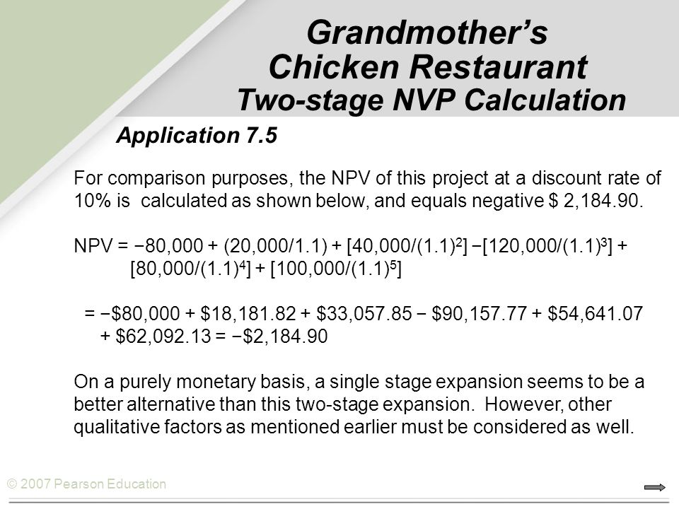 Grandmother's Chicken Restaurant Two-stage NVP Calculation