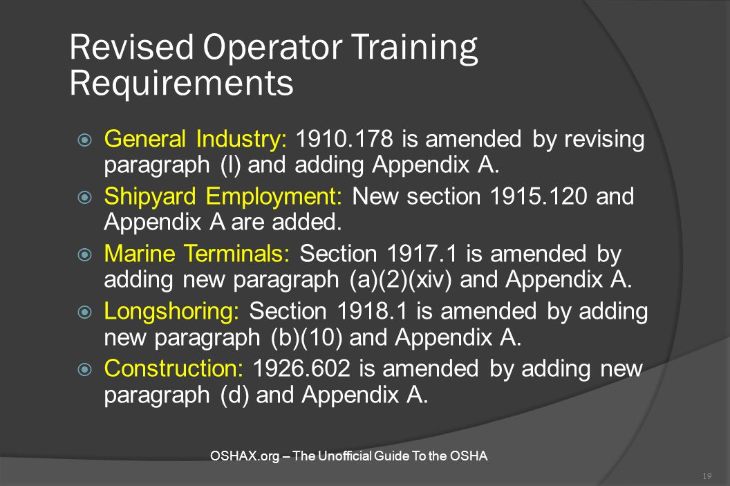 Revised Operator Training Requirements