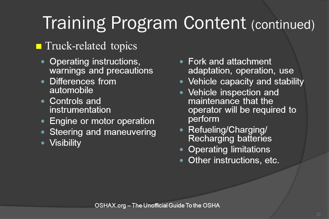 Training Program Content (continued)