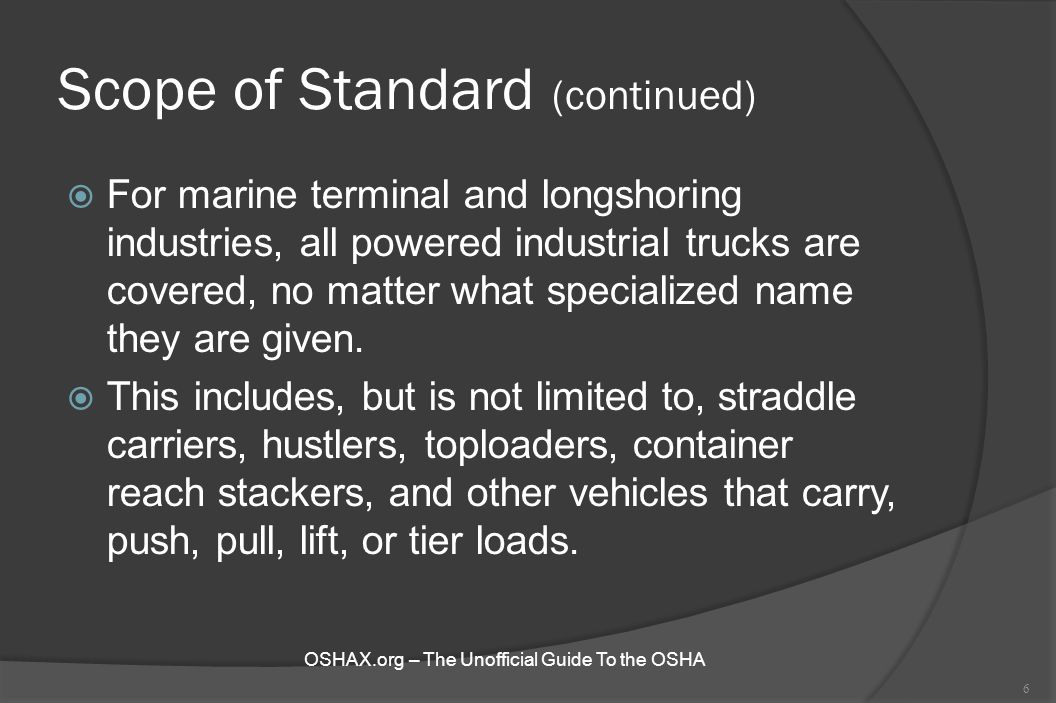 Scope of Standard (continued)