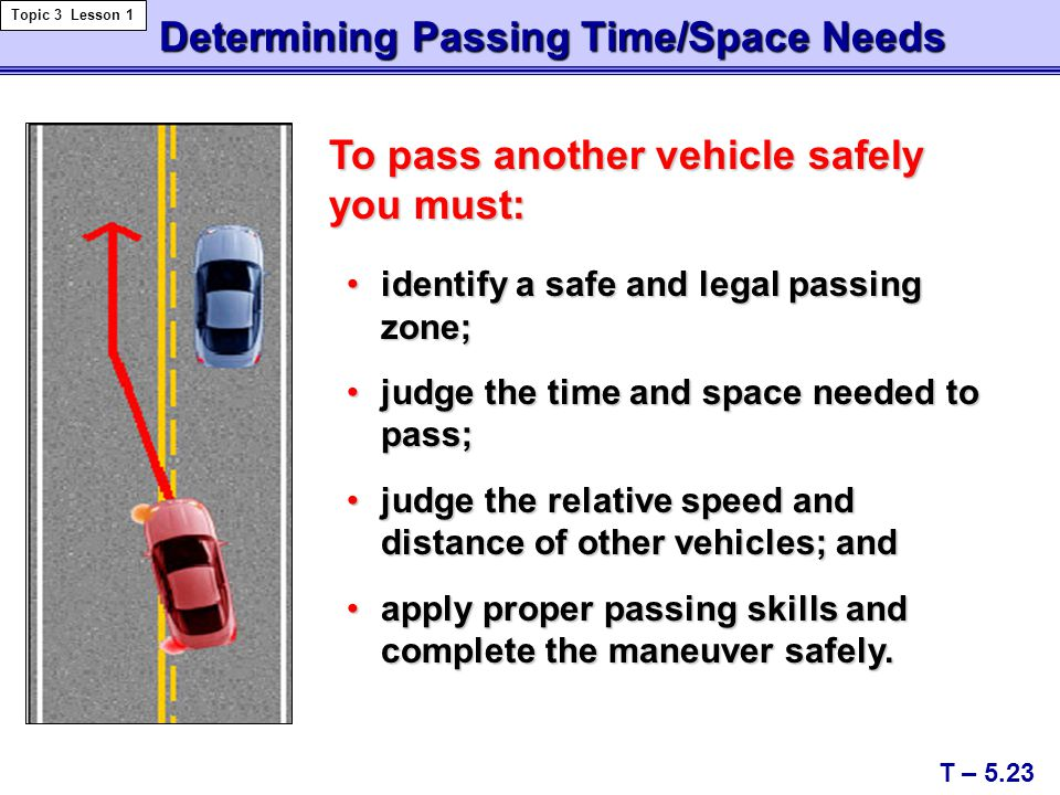 Determining Passing Time/Space Needs
