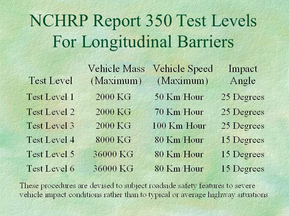 NCHRP Report 350 Test Levels For Longitudinal Barriers