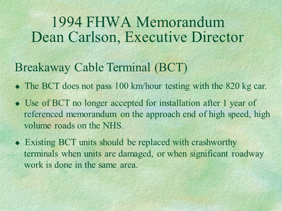 1994 FHWA Memorandum Dean Carlson, Executive Director