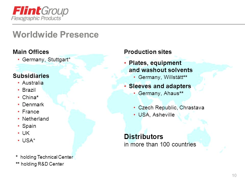 Worldwide Presence Distributors in more than 100 countries