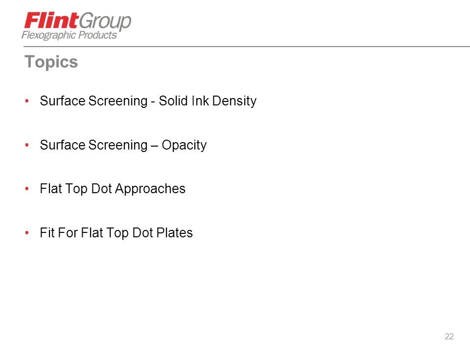 Topics Surface Screening - Solid Ink Density