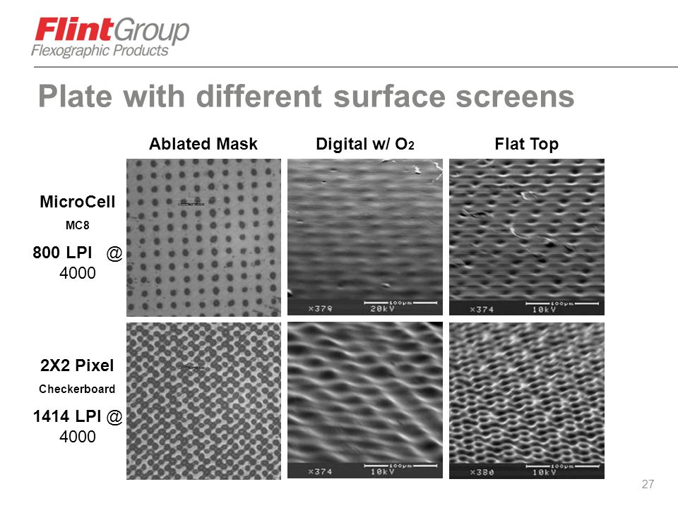 Plate with different surface screens