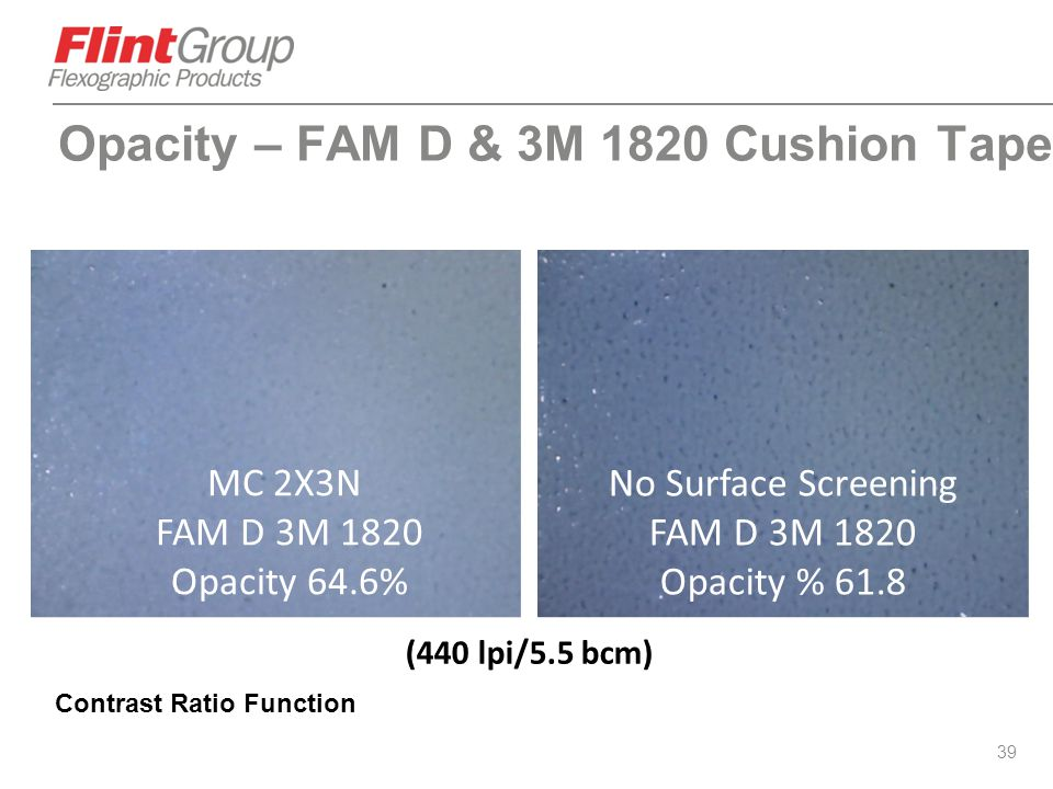 Opacity – FAM D & 3M 1820 Cushion Tape