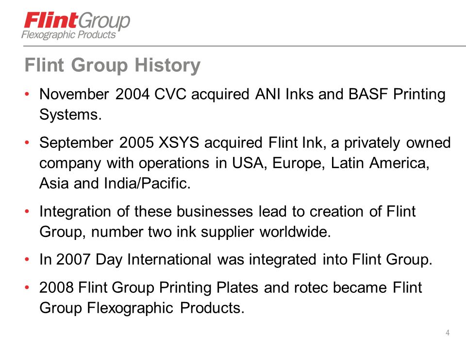 Flint Group History November 2004 CVC acquired ANI Inks and BASF Printing Systems.