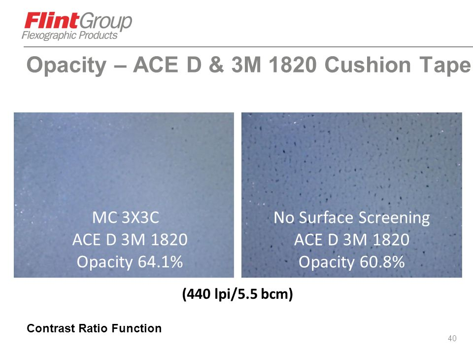 Opacity – ACE D & 3M 1820 Cushion Tape