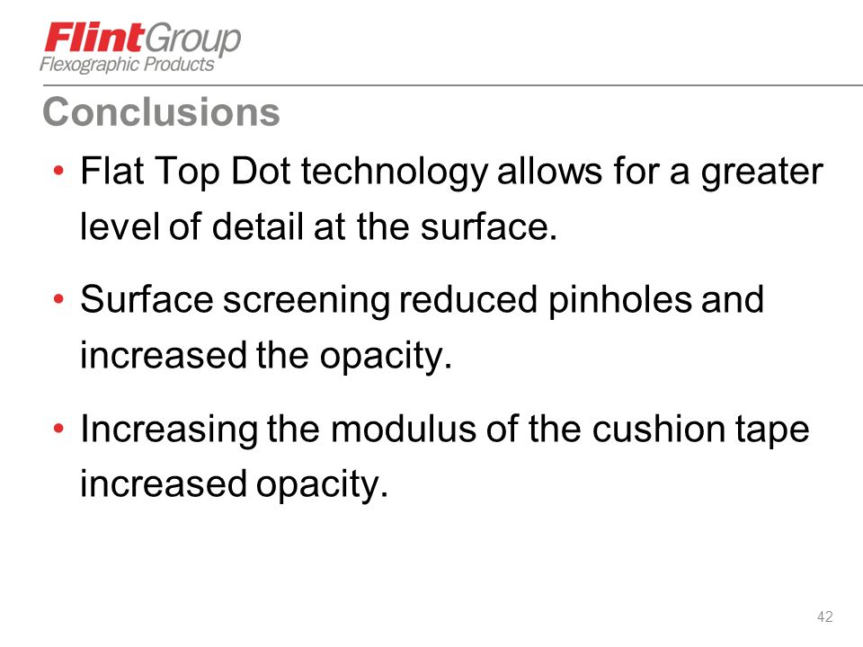 Conclusions Flat Top Dot technology allows for a greater level of detail at the surface.