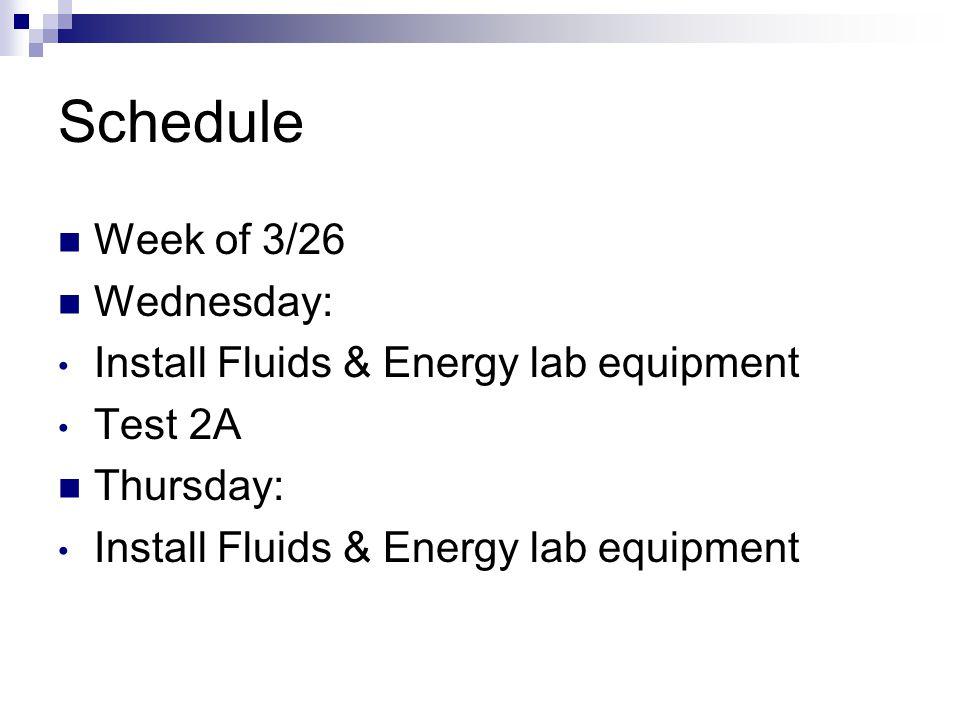 Schedule Week of 3/26 Wednesday: Install Fluids & Energy lab equipment