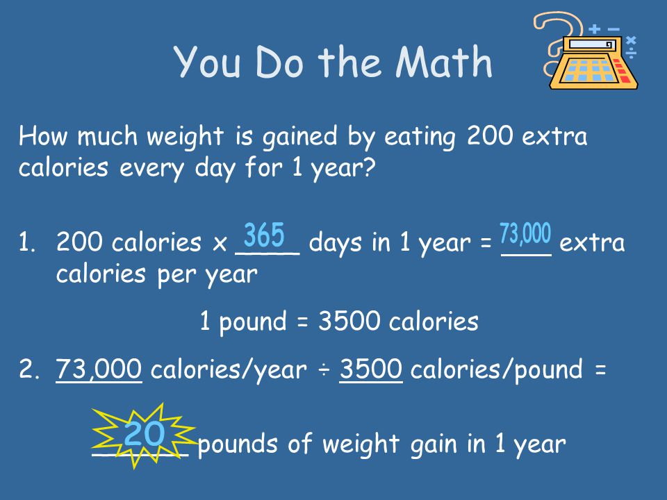 You Do the Math How much weight is gained by eating 200 extra calories every day for 1 year
