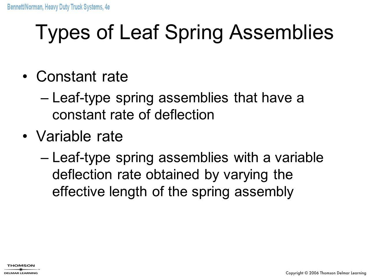 Types of Leaf Spring Assemblies