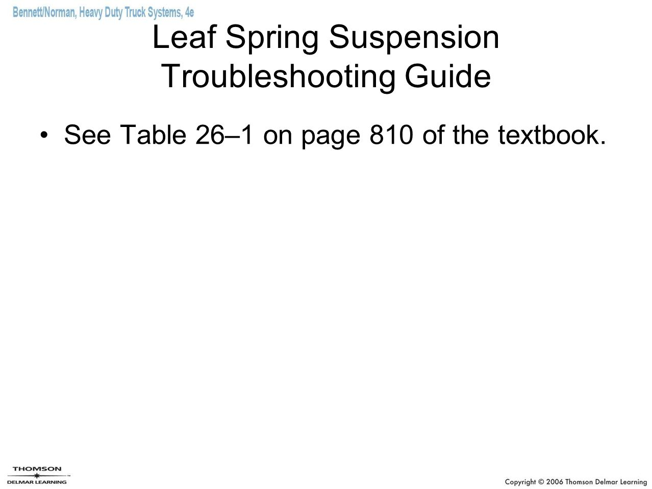 Leaf Spring Suspension Troubleshooting Guide