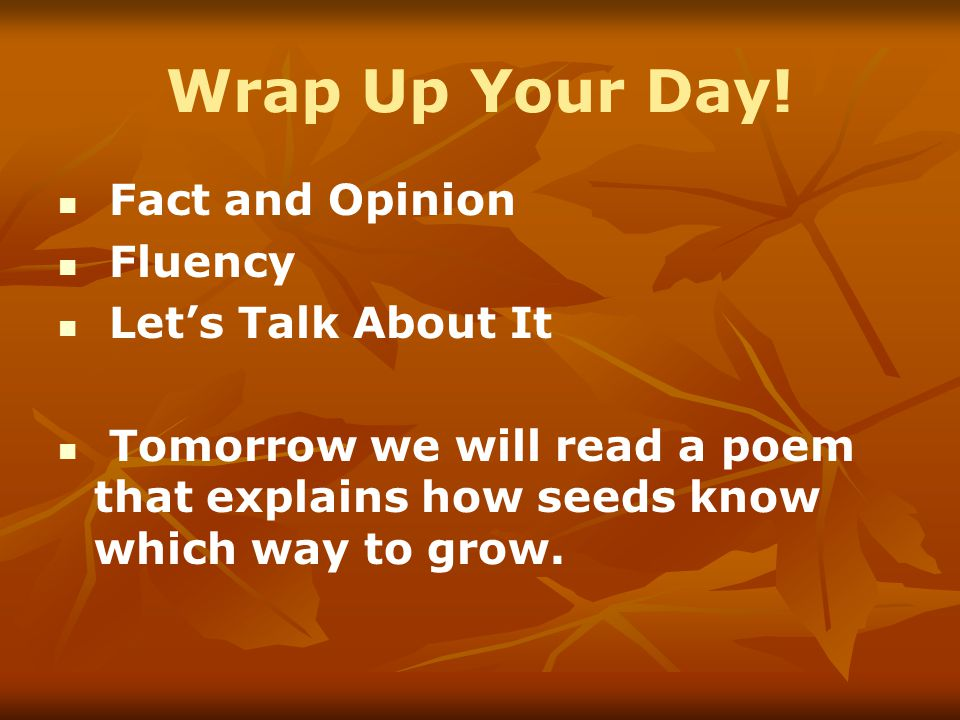 Wrap Up Your Day! Fact and Opinion Fluency Let's Talk About It