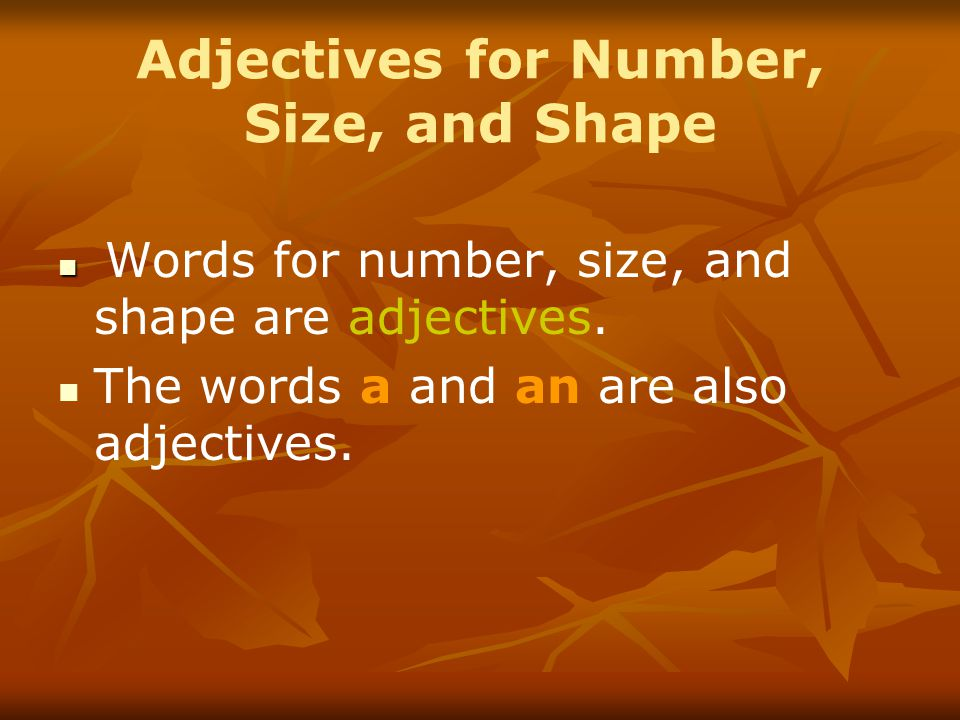 Adjectives for Number, Size, and Shape