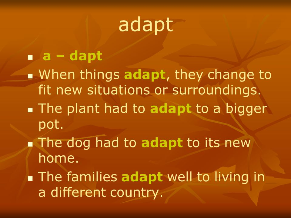 adapt a – dapt. When things adapt, they change to fit new situations or surroundings. The plant had to adapt to a bigger pot.