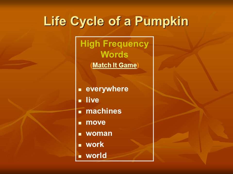Life Cycle of a Pumpkin High Frequency Words everywhere live machines