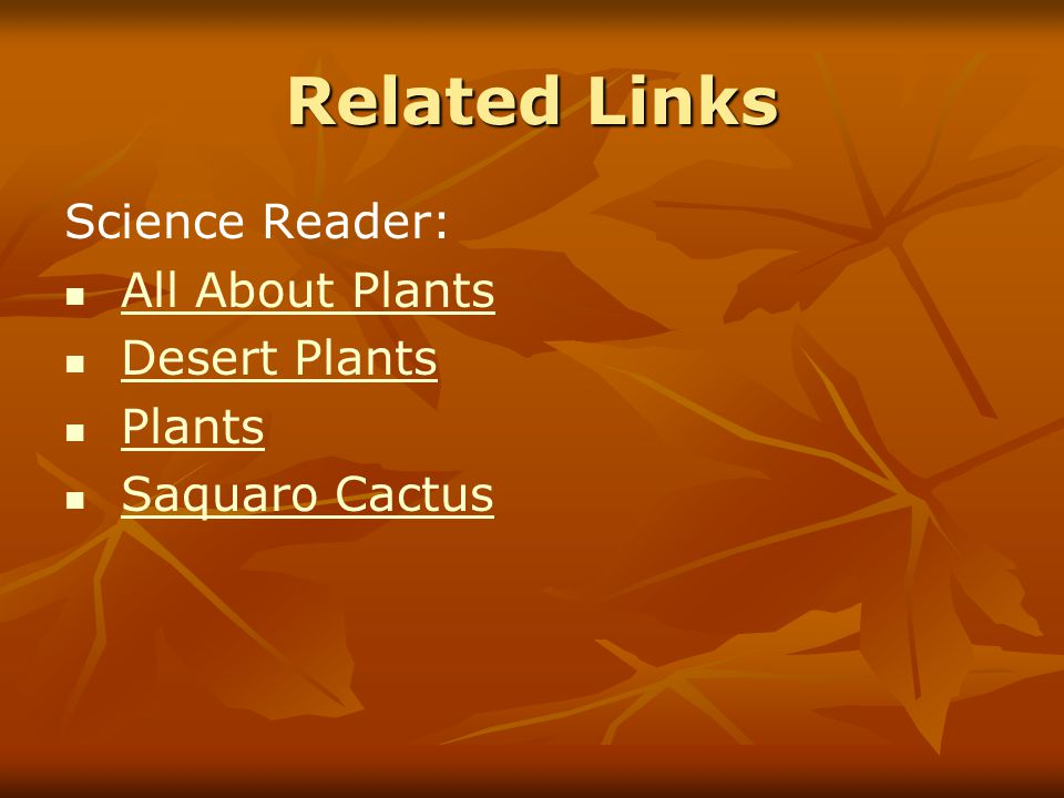 Related Links Science Reader: All About Plants Desert Plants Plants