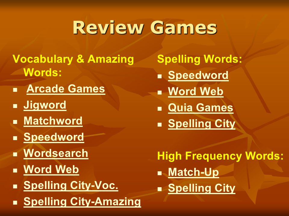 Review Games Vocabulary & Amazing Words: Arcade Games Jigword