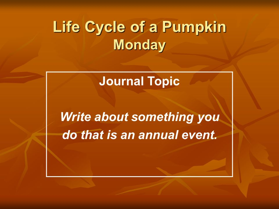Life Cycle of a Pumpkin Monday