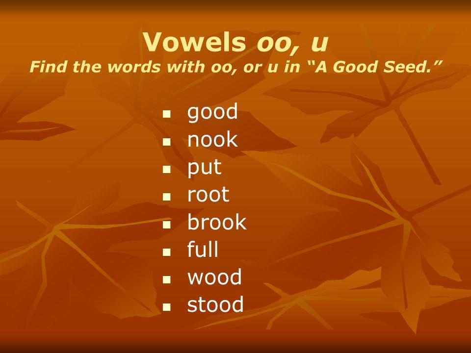 Vowels oo, u Find the words with oo, or u in A Good Seed.