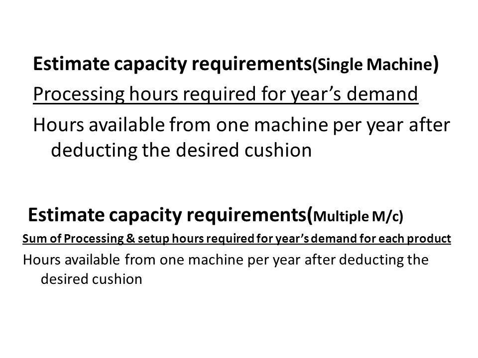 Estimate capacity requirements(Single Machine)