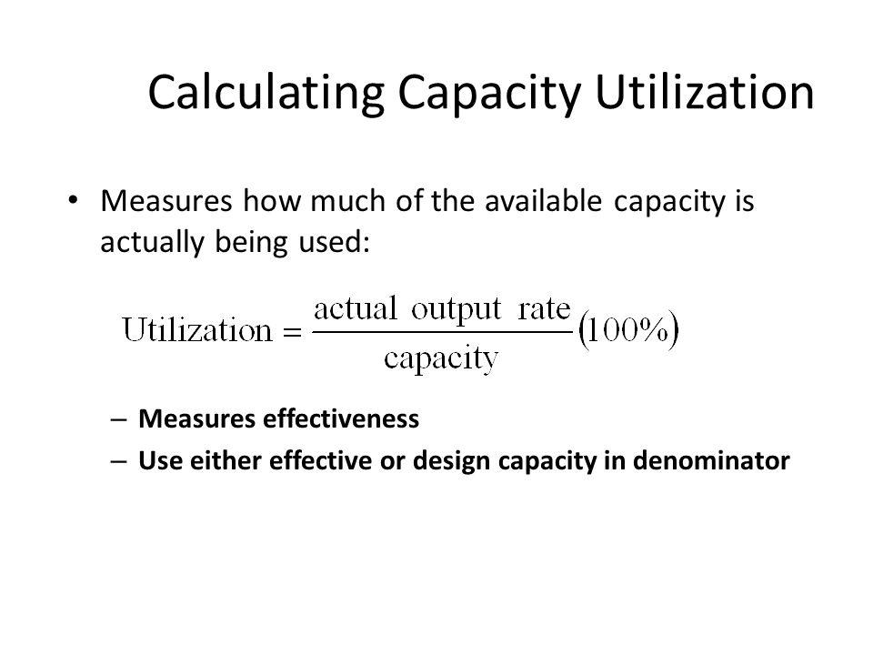 Calculating Capacity Utilization