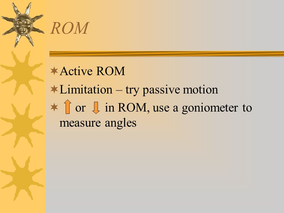 ROM Active ROM Limitation – try passive motion
